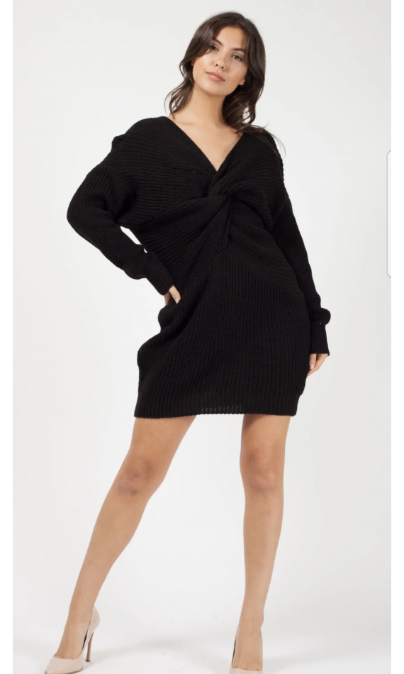Robe pull noir en maille à noeud