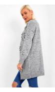 Woolen grey vest with pompoms