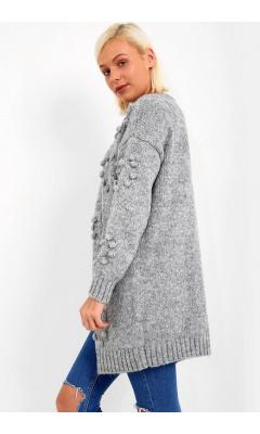 Gilet gris en laine à pompons