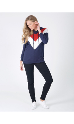 Navy, red and white hoodie