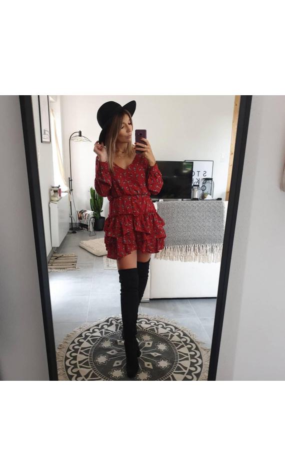 Robe Rouge Manches Longues A Fleurs Avec Volants Morango Vetements Pour Femme