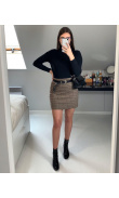 Straight plaid skirt