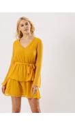 Robe à froufrous jaune à pois