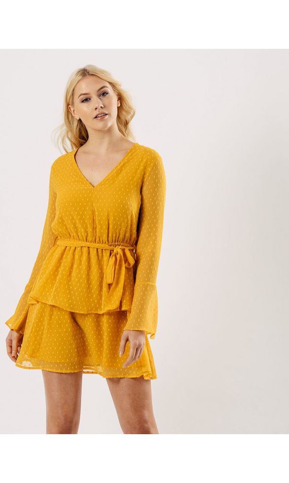 Yellow frilly dress with polka dots