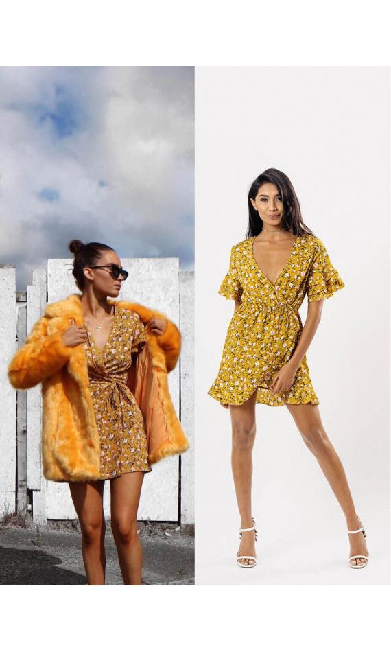 Yellow dress to flowery printed matter