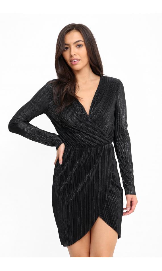 Wrinkled metallic black short dress