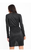 Robe courte noire métallique plissée