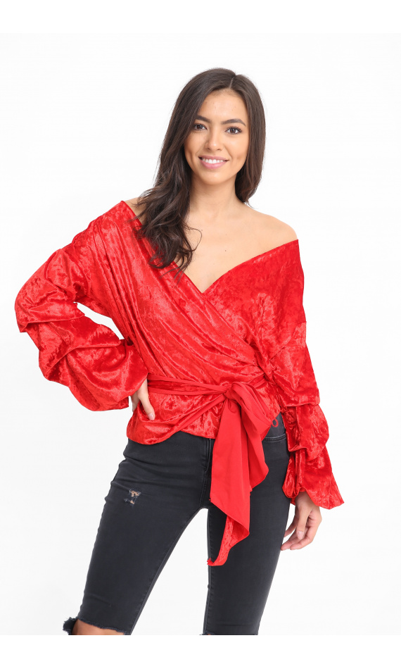 Velvet red blouse puffed sleeves encircles knotted