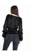 Velvet black blouse puffed sleeves encircles knotted