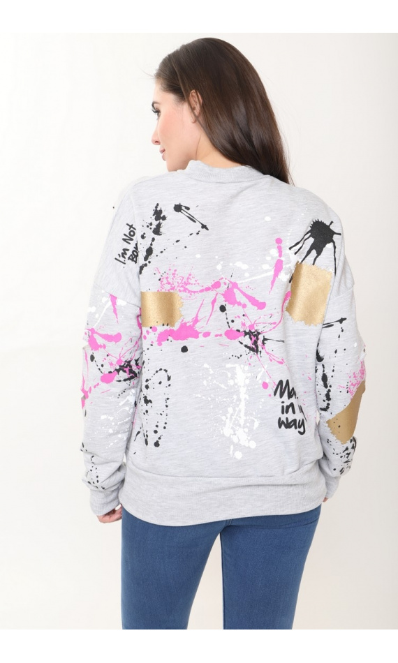 Grey pullover with paint
