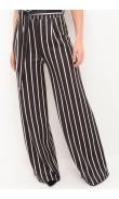Pantalon ample noir rayé