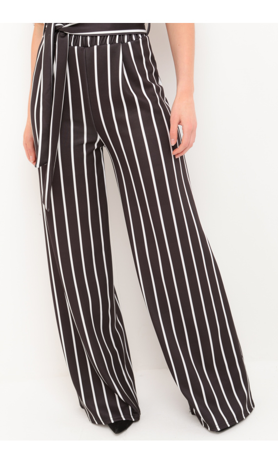 Pantalon noir rayé blanc, ample