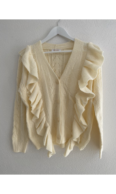 Cream ruffled knit cardigan