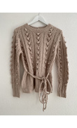 Old pink open work knit sweater