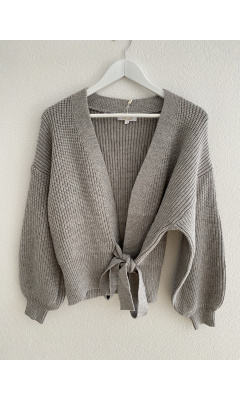 Tie front wrap cardigan - Gray