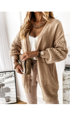 Cardigan à manches en filet taupe