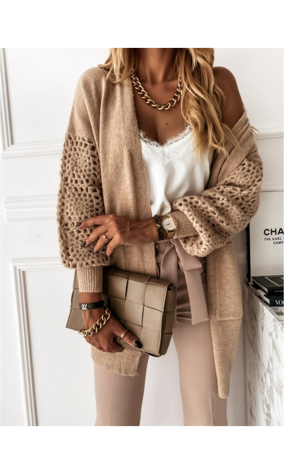 Cardigan with taupe mesh sleeves