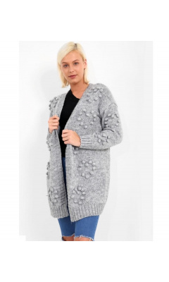 Woolen grey vest with pompoms