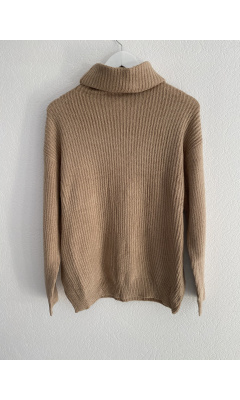 Taupe turtleneck knit sweater