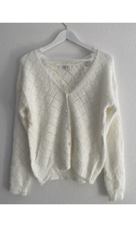 White cardigan with lace collar