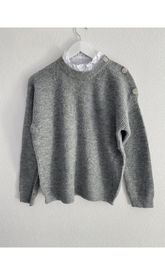 Gray sweater with blouse insert
