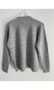 Pull gris avec insert de chemisier