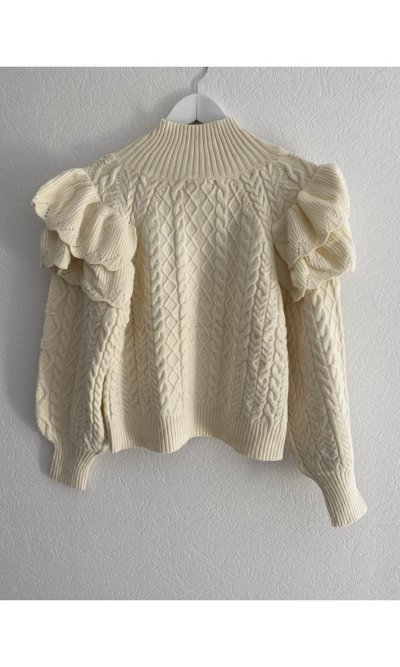 Beige knitted sweater with ruffles