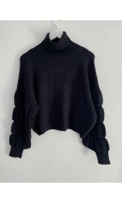 Black ruched sleeve turtleneck sweater