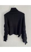 Black ruched sleeve turtleneck sweater