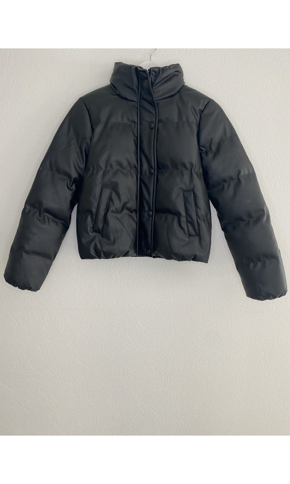Black faux leather puffer jacket
