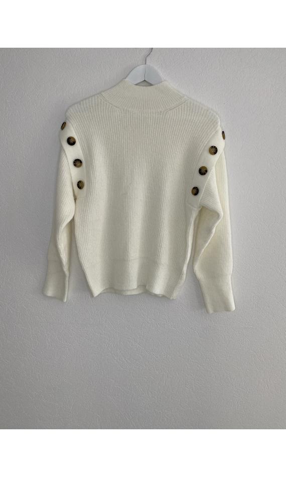 White high neck sweater