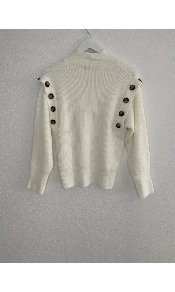 Pull col montant blanc