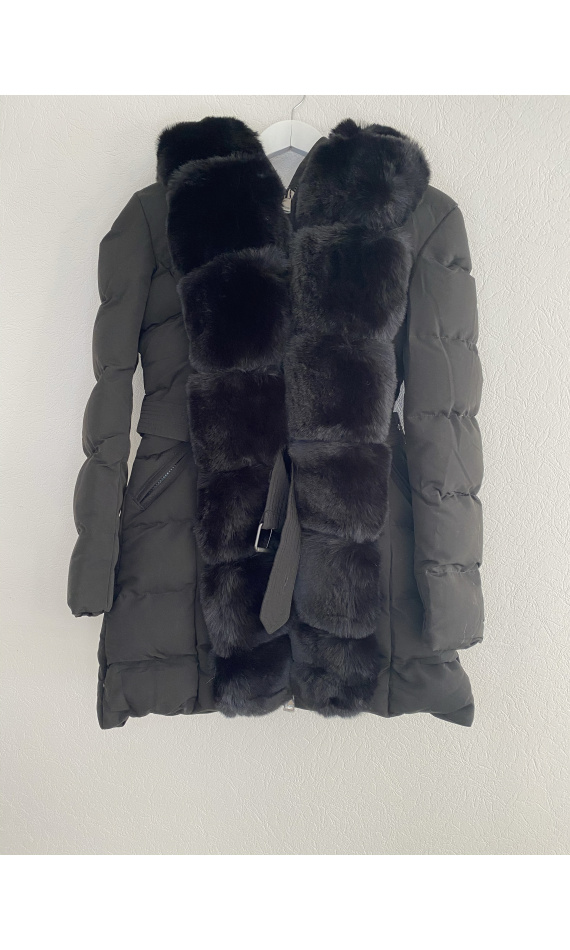 Black faux fur puffer jacket