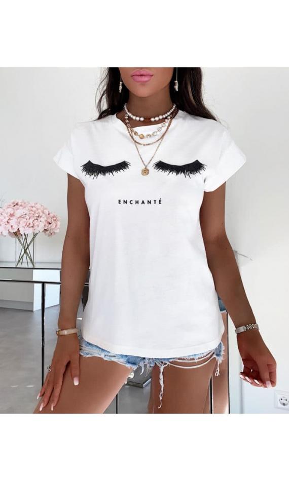 T-shirt with eyelash print