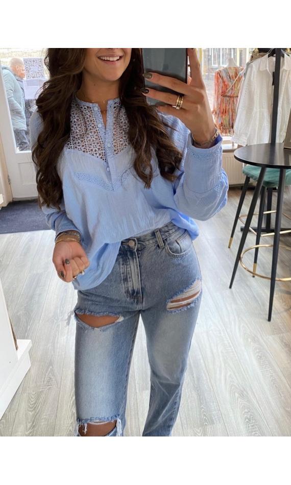 Buttoned blue lace blouse