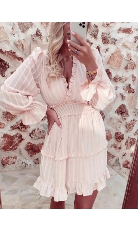 Light pink ruffled wrap dress