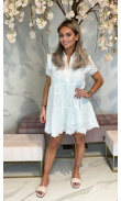 White embroidered and perforated dress