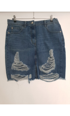 Jupe bleu en jean destroy