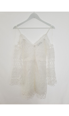 White culotte suit with hook