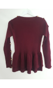 Knit pullover plum with rustles with lace and buttons on sleeves