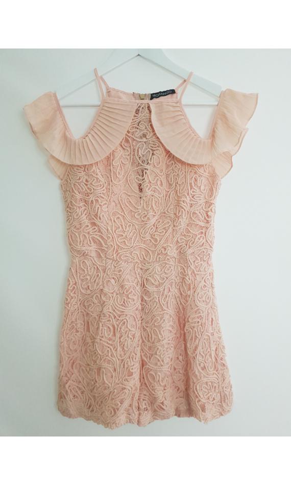 Lace pink culotte suit