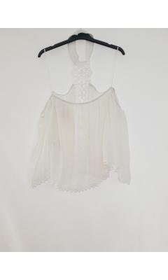 Blouse blanche crochet col montant