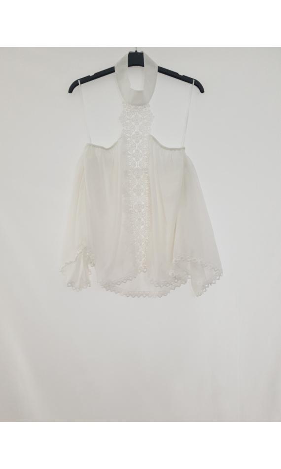 White blouse hook high neck