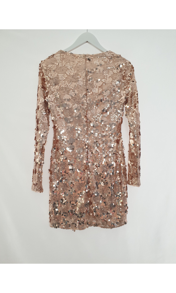 Skin-tight dress nude in sequin with long sleeve